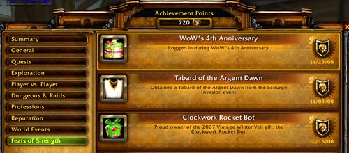 The WoW 4th Anniversary Achievement